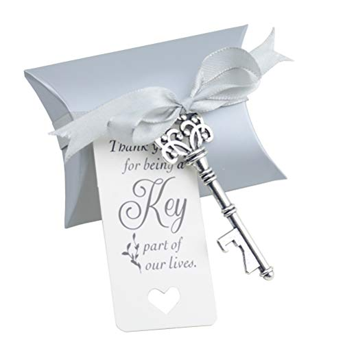 - Aokbean 50pcs Wedding Favor Souvenir Gift Set Pillow Candy Box Vintage Skeleton Key Bottle Openers Escort Gift Card Thank You Tag French Ribbon (Silver)