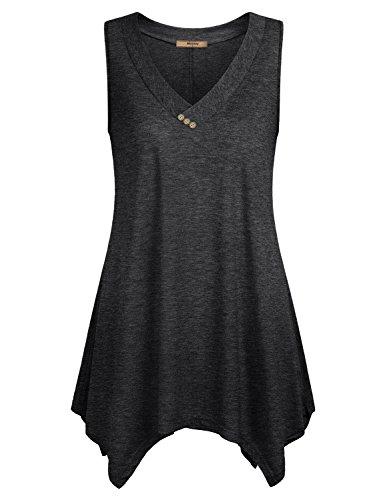 Miusey Tank Top Dress Womens Sleeveless V Neck Loose Fit Summer Comfy Flattering Elegant Asymmetrical Hem A Line Flowy Tunic Black M