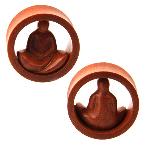 NOG-155 Pair of Meditating man design double Flare Tunnel Sawo Wood Ear Plugs (7/8