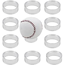 "10 Clear Round 1-1/2"" Beveled Ring Display Stand Pedestal for Golf Ball Baseball Softball Eggs Spheres Puzzle Balls No Ball Included"