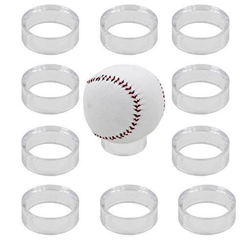 "YYST 10 Round 1-1/2"" Beveled Ring Display Stand Pedestal for Golf Ball Baseball Softball Eggs Spheres Puzzle Balls No Ball Included"