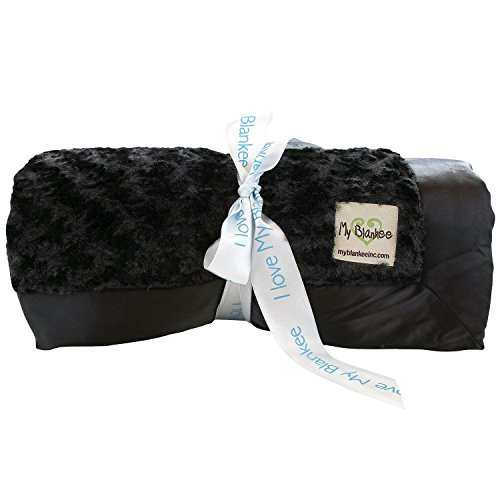 My Blankee Snail Luxe Twin Blanket with Flat Satin Border, Black, 59'' X 85''