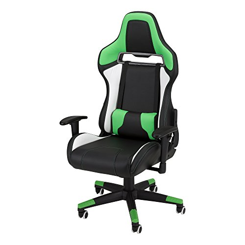 Commander - Racing-Style Gaming Chair by SkyLab Performance Seating F.C., Green/White/Black School Outfitters