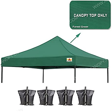 23 Colors 100 Waterproof AbcCanopy 10x10 Replacement Top Cover For 10x10 Pop Up Canopy Tent Bonus 4x Weight Bag Forest Green