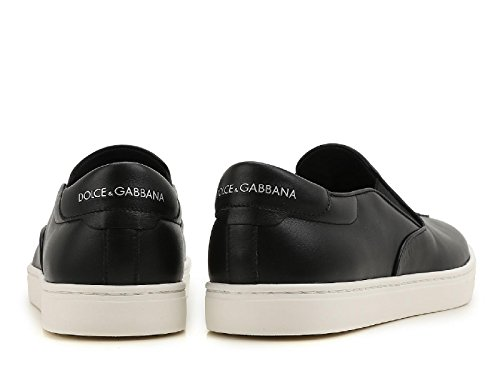 Dolce E Gabbana Herren Cs1365ag47480999 Schwarz Leder Scivolare Su Scarpe Da Ginnastica