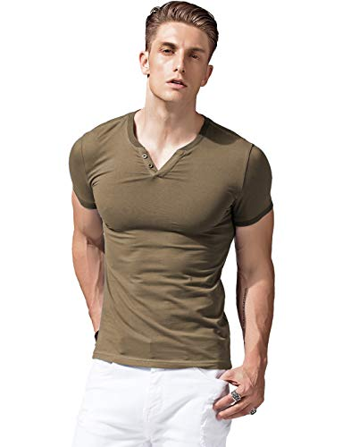 XShing Mens Short Sleeve V Neck Henley Shirts Slim Fit Casual Tee Army Green