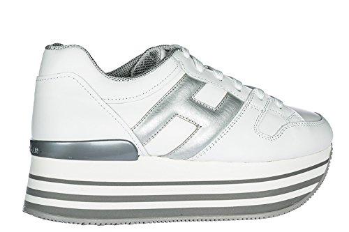 Hogan Baskets Chaussures en Cuir Blanc Sneakers H222 Femme HHfxRrq