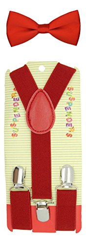 (Kids Baby suspender and Bowtie Combo Set Adjustable Boys Girls Toddlers (Red))
