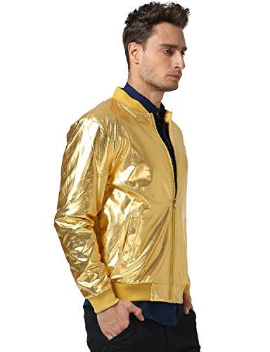 bb174c71e47 JOGAL Mens Metallic Nightclub Styles Zip Up Varsity Baseball Bomber Jacket  Large Gold