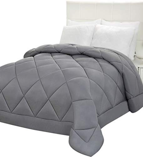Utopia Bedding Comforter Duvet Insert - Quilted Comforter with Corner Tabs - Plush Siliconized Fiberfill, Diamond Stitched Down Alternative Comforter, Machine Washable (Grey, Full/Queen)