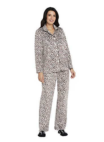 (Karen Neuburger Women's Plus Size Long Sleeve Minky Fleece Pajama Set PJ, Leopard Brown/Cream, 1X)