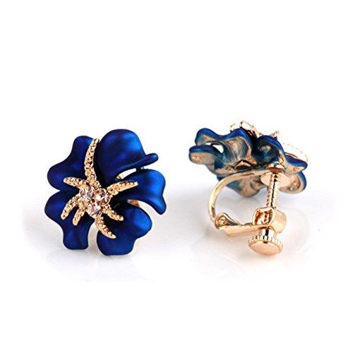 CNCbetter Women Fashion Charms Austrian Crystal Charms Blue Big Flower Screw Back Clip On Earring
