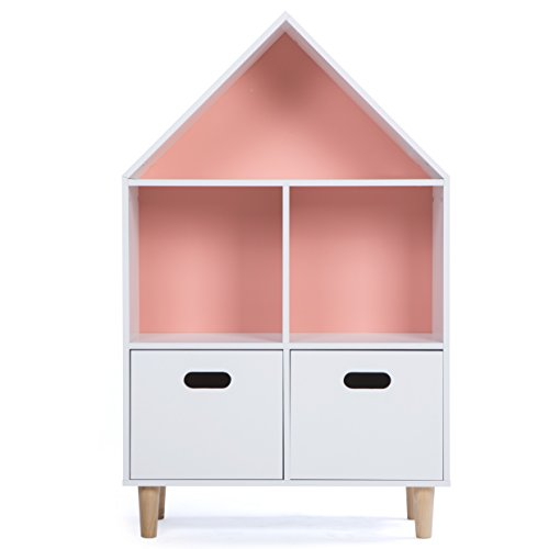 LUCKUP Kids Furniture Children Dollhouse Cottage Wood Tall sturdy and adorable Shelf Bookcase with Drawer, Two Color Choice(Sky Blue or Baby Pink) (40''Hx25''Lx12''W) by LUCKUP