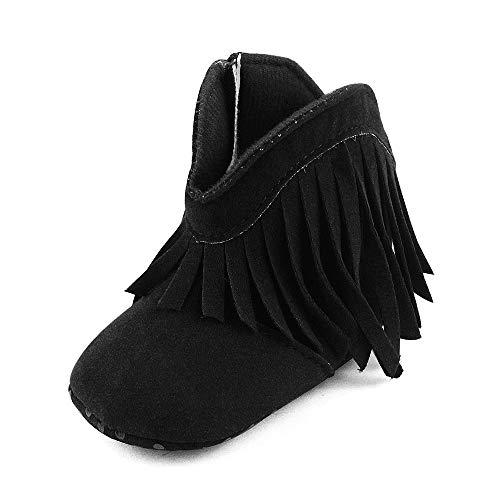 Girls Black Cowboy Boot - ESTAMICO Baby Girls' Boys' Cowboy Tassel Boots Black 12-18 Months