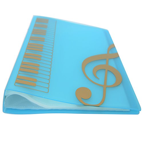 WOGOD Music Sheet File Paper Documents Storage Folder Holder Plastic.A4 Size,40 Pockets (Blue) Custom Folder Printing