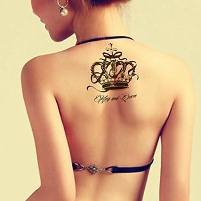 tafly Black Crown Tempo rary Back Leg brazo Transfer Tatuajes ...