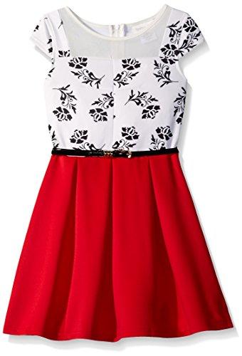 Lavender Slim Girls Cap Sleeve Illusion with Box Pleat Skirt, Poppy, 7
