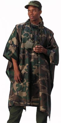 Woodland Camouflage Rip-Stop Waterproof Rain Poncho (Woodland Camo Ripstop)