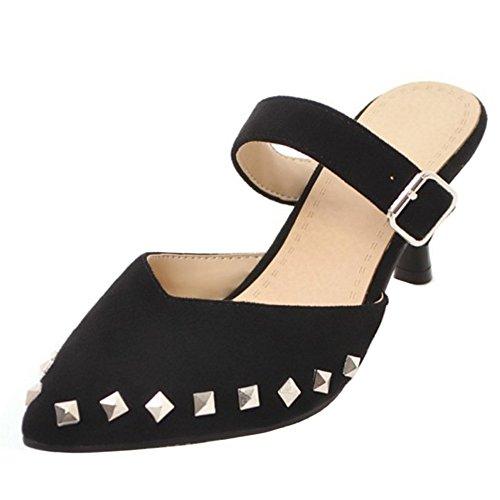 Femmes Bout Heel RAZAMAZA Pointu Black 1 Mules Kitten d5nwa7n
