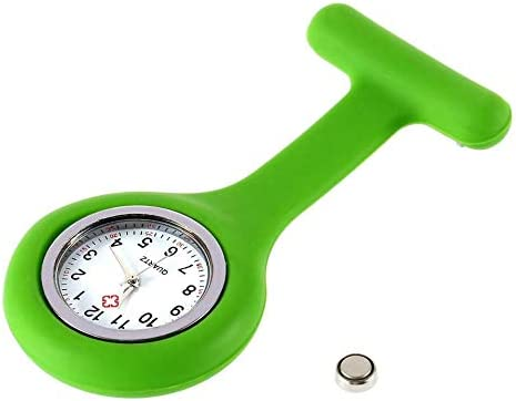 Emilyisky Mini portátil Gel de Silicona médico Enfermeras Broche Bolsillos Pin Fob Compacto Atractivo túnica médica Reloj Verde