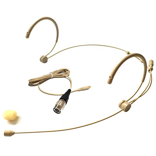 Microdot 4016 Headset Headworn Microphone For Audio Technica Wireless System - Detachable Cable With 4 Pin Hirose type Connector - Omidirectional Mic