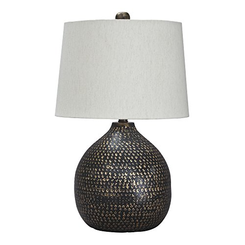 (Ashley Furniture Signature Design - Maire Metal Table Lamp - Contemporary - Black/Gold Finish)