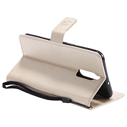 LEMORRY Huawei Mate 10 Lite Hülle Tasche Ledertasche Flip Beutel Haut Slim Bumper Schutz Magnetisch Soft SchutzHülle Weich Silikon Cover Schale für Huawei Mate 10 Lite, Glücklicher Baum (Schwarz) Gold