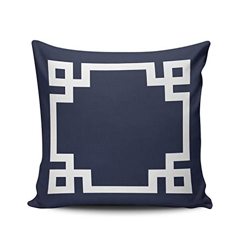 (WULIHUA Decorative Throw Pillow Covers Navy Blue and White Greek Key Border Fine Zipper Pillowcases Throw Pillow Cushion Covers for Sofa Double Sides Printed Square 16x16 Inches)