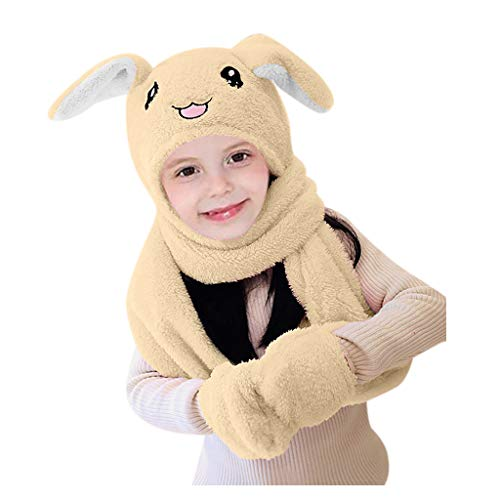 Palarn Newsboy Caps Bomber Cowboy Hats Berets Cute 3 In 1 Hat Glove Scarf Can Move Airbag Magnet Cap Plush Dance Rabbit Ear