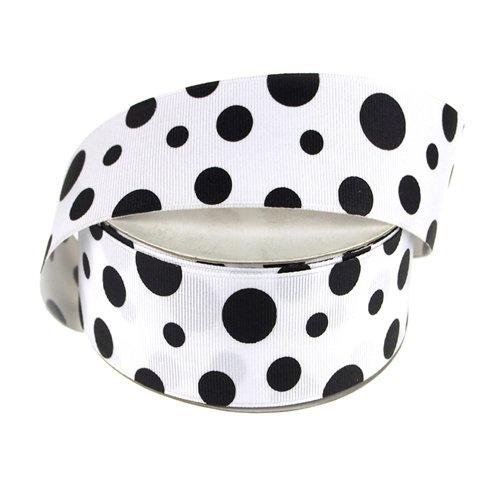 - Homeford FHV000057919 White Grosgrain Polka Dots 25 yd Ribbon, 1-1/2