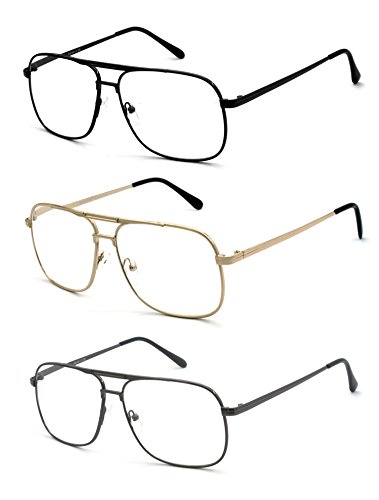 3 Pack Metal Square Aviator Style Geek Reading Glasses, Black, Gold and Gunmetal, Strength: - Geek Glasses Reading