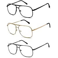 3 Pack Metal Square Aviator Style Geek Reading Glasses, Black, Gold and Gunmetal, Strength: +1.00