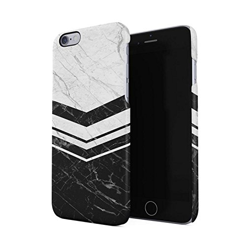Black & White Marble Chevron Line Blocks Hard Plastic Phone Case For iPhone 6 & iPhone 6s