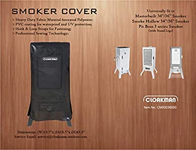 Cloakman Premium Heavy-Duty Smoker Cover for Pit Boss 3 Series Smoker and Masterbuilt MPS230/Smoke Hollow 3615GW 34162G 3616DEW 34 in & 36 in Vertical Smokers Cuisinart COS-244 Propane Smoker Cover by Cloakman
