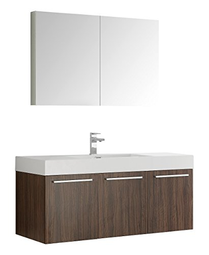 nut Wall Hung Modern Bathroom Vanity with Medicine Cabinet (Fresca Vista Walnut)