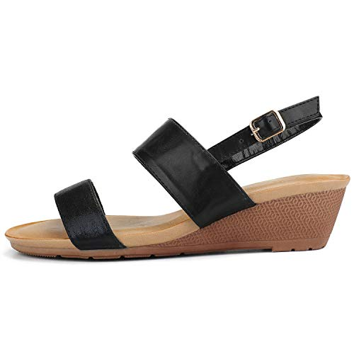 Alexis Leroy Women's Double Strapped Slingback Low Wedge Dress Sandals Black 7-7.5 M US