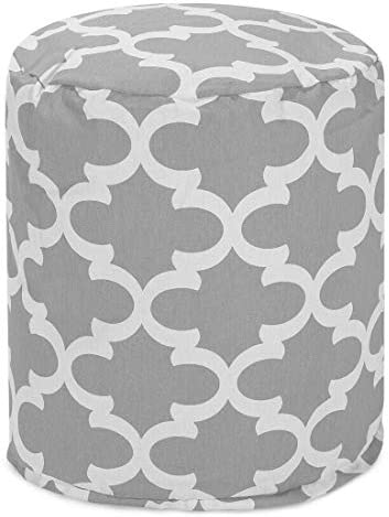 Majestic Home Goods Gray Trellis Indoor/Outdoor Bean Bag Ottoman Pouf 16″ L x 16″ W x 17″ H