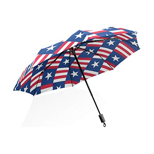 XiangHeFu Umbrella USA Star White Blue Flag Red Stripe Patriotic Auto Open Close 3 Folds Lightweight Anti-UV