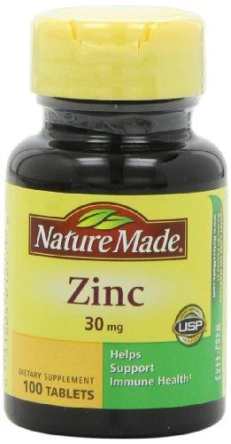 Nature Made zinc 30mg, 100 comprimés (pack de 6)