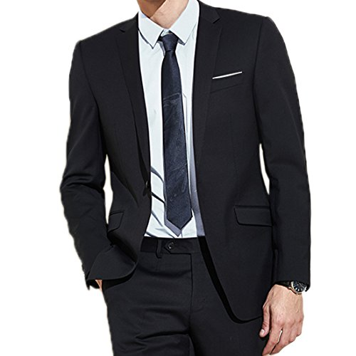 Jearey Mens Blazer Casual Slim Fit Lapel Suit Jacket One Button Daily Business Dress Coat (Black, ()