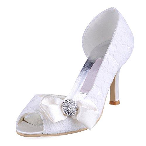 Kevin Fashion Ladies mz570Peep Toe alto talón con lazo de encaje novia boda zapatos sandalias marfil
