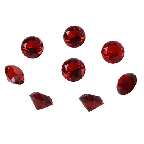 h) Crystal Diamond Paperweight Birthstone Home Decor Pack of 8 (Red) ()