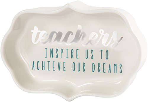 Teacher Keepsake Box - Pavilion - Teachers Inspire Us To Achieve Our Dreams - Teal & Silver - 4 Inch Mini Jewelry Dish with Gift Box