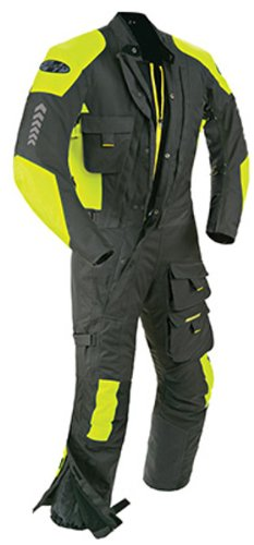 Joe Rocket Survivor Men's Waterproof 1-Piece Motorcycle Riding Suit (Black/Hi-Viz Neon, X-Large)