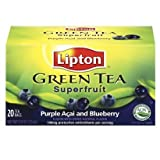 Lipton, Green Tea Bags, Purple Acai With Blueberry, 20 Count, 0.8oz Box (Pack of 3) by Lipton
