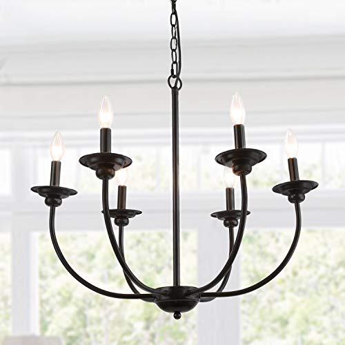 (LALUZ 6-Light Transitional Chandeliers Pendant Lights for Dining Room, Oil Black, 26