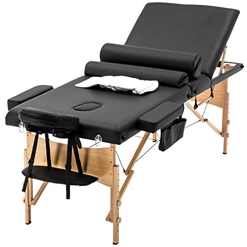 Massage Table Massage Bed Spa Bed Heigh Adjustable 3 Fold 84 Inch Massage Table W/Sheet Cradle Cover 2 Bolster Hanger Portable Facial Salon Tattoo Bed