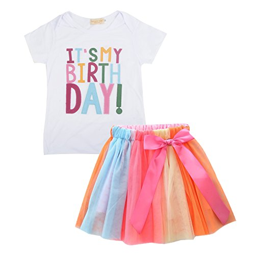 Girl Birthday Tee (IU Baby Little Girls Letters T-Shirt + Colorful Rainbow Tutu Skirts Birthday Gift Outfits Set ,Pink,90 / 2-3T)