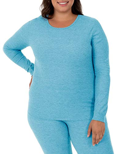 - Fruit of the Loom Women's Plus Size Waffle Thermal Crew Top, Teal Heather, 1X