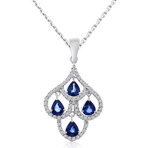 1.64 Ct Pear Diamond (1.64 Carat (ctw) 14k White Gold Pear Blue Sapphire and Diamond Women's Moving Chandelier Pendant with 18